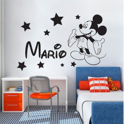 Personalized Name Mickey Mouse Vinyl Wall Art Decal (WD-0987)