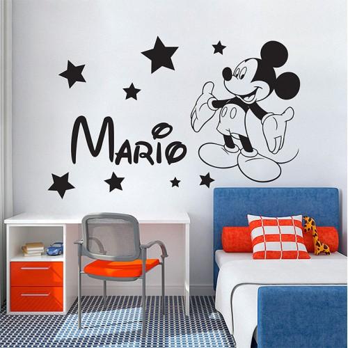 สติกเกอร์ติดผนังมิกกี้เม้าส์ ใส่ชื่อได้ Personalized Name Mickey Mous Wall Sticker