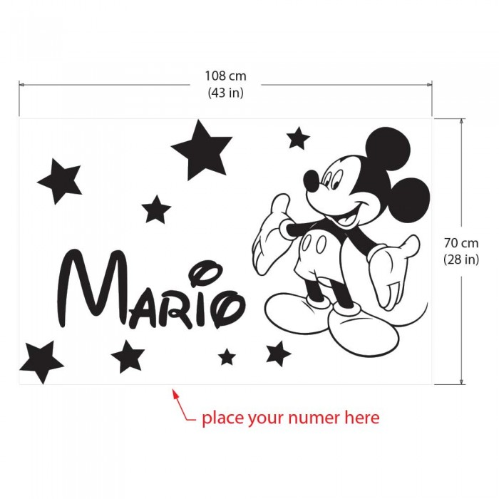 sc 1 st  Art2Click & Personalized Name Mickey Mouse Vinyl Wall Art Decal