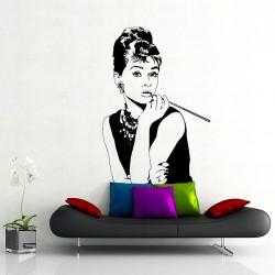 สติกเกอร์ติดผนัง ออเดรย์ เฮปเบิร์น Audrey Hepburn Superstar Wall Sticker (WD-0994)