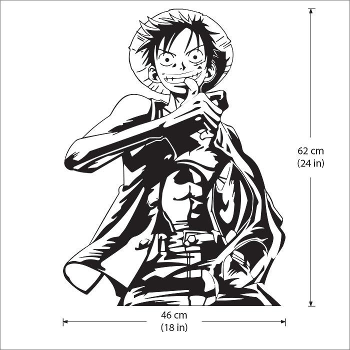 "One Piece Monkry D Luffy Anime Decal Vinyl Sticker 5/"" tall on White bg #100"