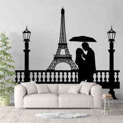 สติกเกอร์ติดผนัง Eiffel Tower Couple Under Umbrella Wall Sticker (WD-1000)