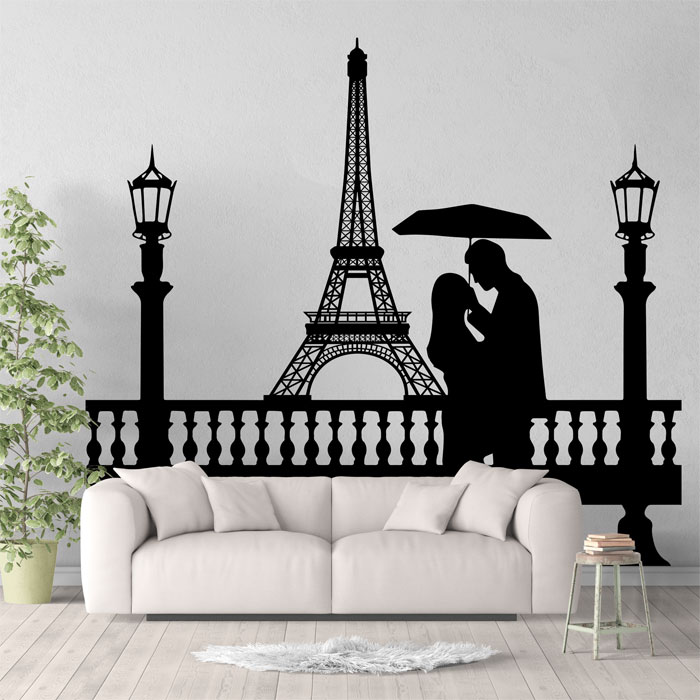 23c79c7ea6e Eiffel Tower Couple Under Umbrella Vinyl Wall Art Decal