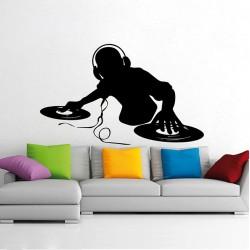 สติกเกอร์ติดผนัง ดีเจ DJ Scratch Music Wall Sticker (WD-1001)