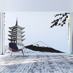 House Japan white Mount Fuji Vinyl Wall Art Decal (WD-1002)
