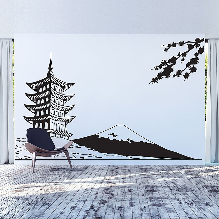 Japan White Mount Fuji Vinyl Wall Art Decal - How do you put up vinyl wall decals