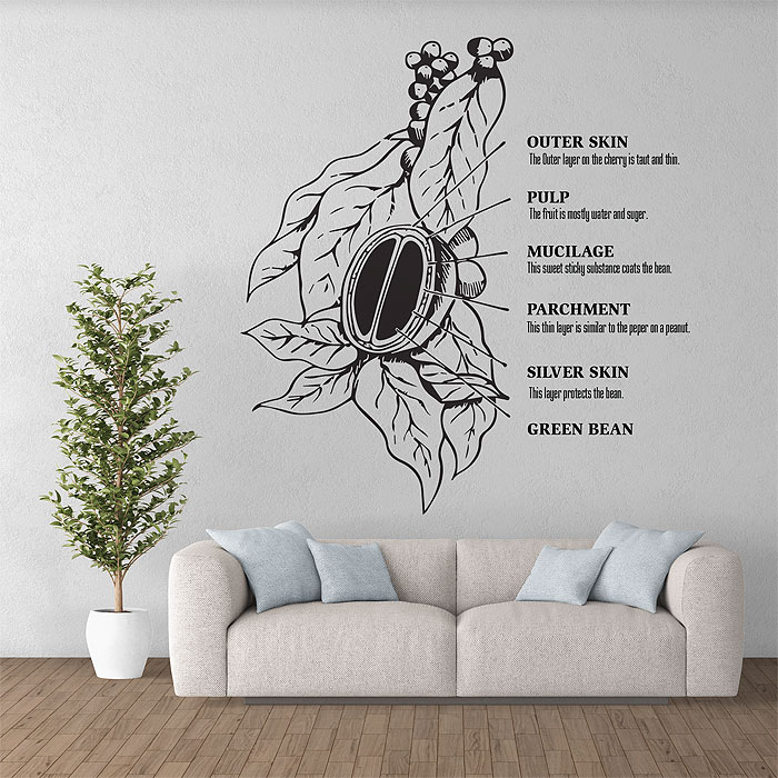 Coffee Tree Vinyl Wall Art Decal - Custom vinyl wall decals coffee