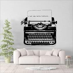 สติกเกอร์ติดผนัง ภาพ เครื่องพิมพ์ดีด Vintage Typewriter Wall Sticker (WD-1007)