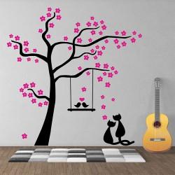 สติกเกอร์ติดผนัง Flowers Tree with Birds and Cats Wall Sticker (WD-1009)