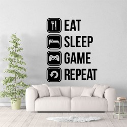 EAT SLEEP GAME REPEAT Vinyl Wall Art Decal (WD-1010)