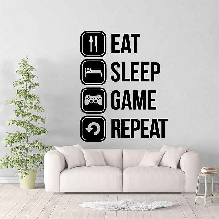 eat sleep game repeat vinyl wall art decal