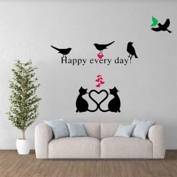 สติกเกอร์ติดผนัง / Wall Sticker Birds and cats happy every day  (WD-1011)