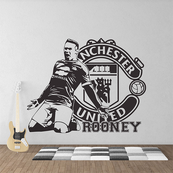 wayne rooney football manchester united vinyl wall art decal