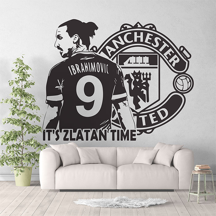 zlatan ibrahimovic football soccer manchester utd vinyl wall art decal