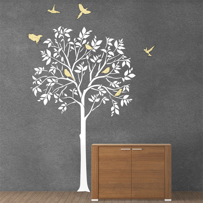 & Tree and Birds Vinyl Wall Art Decal