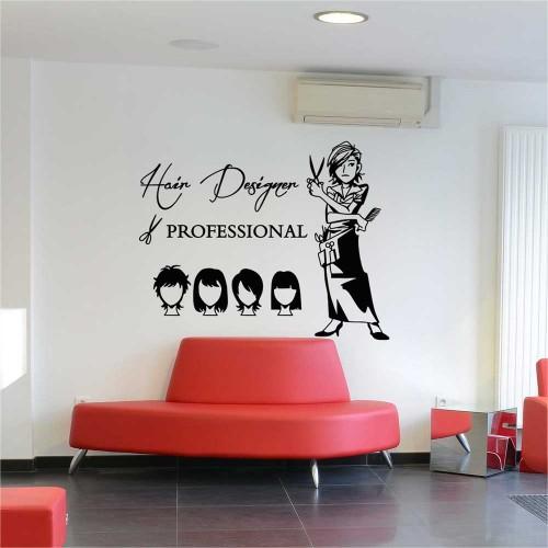 สติกเกอร์ติดผนัง Hair Cut Hair Design Beauty Salon / Wall Sticker