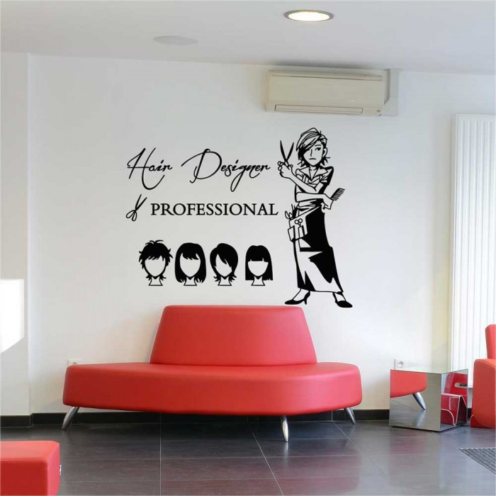 & Hair Cut Hair Design Beauty Salon Vinyl Wall Art Decal