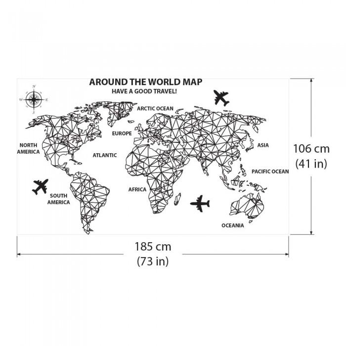 Weltkarte Around The World Map Wandaufkleber Wandtattoo