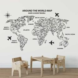 สติกเกอร์ติดผนัง แผนที่โลก Around The World Map / Wall Sticker (WD-1032)