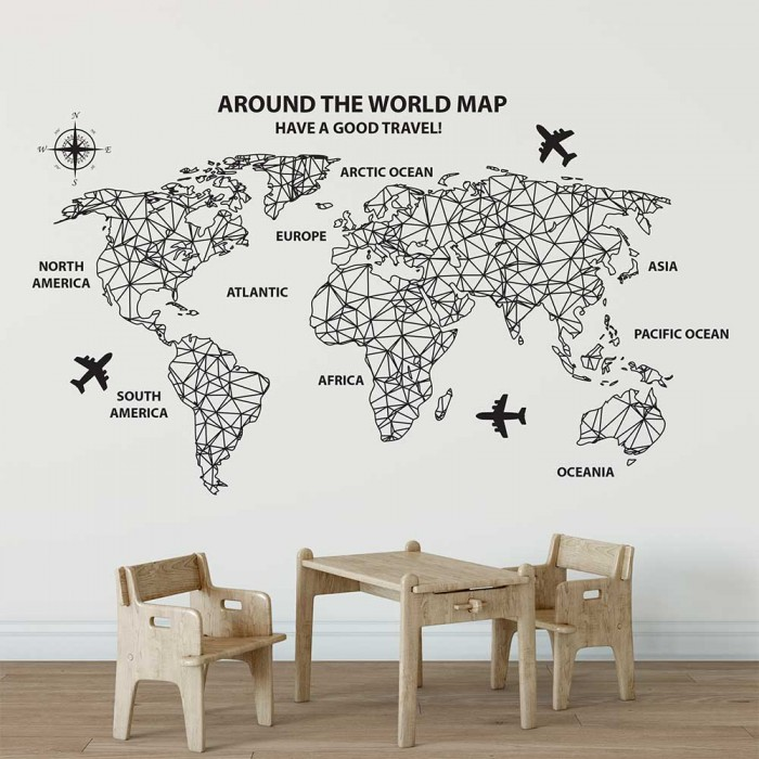 Around The World Map Vinyl Wall Art Decal
