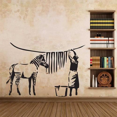 Banksy zebra stripes wash wandaufkleber wandtattoo - Wandtattoo banksy ...