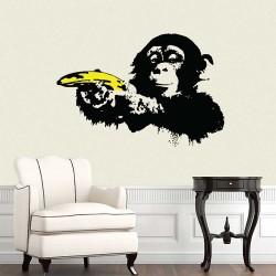 สติกเกอร์ติดผนัง Banksy Ape Monkey with Warhol Banana / Wall Sticker (WD-1042)