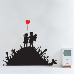 Banksy Kids on Guns Hill with Heart Balloon Vinyl Wall Art Decal (WD-1043)