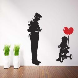 Banksy TRYCICLE COP police guard and ballon girl Vinyl Wall Art Decal (WD-1044)