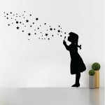 Banksy Buble Girl Star Bubbles สติกเกอร์ติดผนัง / Wall Sticker