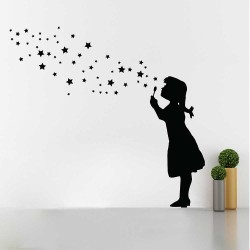 Banksy Buble Girl Star Bubbles Wandaufkleber Wandtattoo (WD-1045)