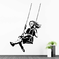 Banksy Girl on Swing Vinyl Wall Art Decal (WD-1048)