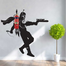 Fire Extinguisher Boba Fett Jetpack Star Wars Wall Decal (WD-1049)