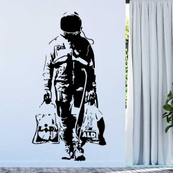 Banksy Astronaut Shopping Vinyl Wall Art Decal (WD-1050)