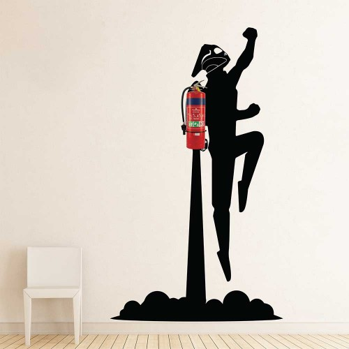 rocketeer jetpack flying fire extinguisher vinyl wall art