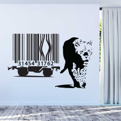 Banksy Barcode Leopard Vinyl Wall Art Decal (WD-1053)