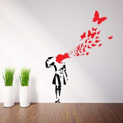 Banksy Suicide Girl Butterfly Vinyl Wall Art Decal (WD-1054)
