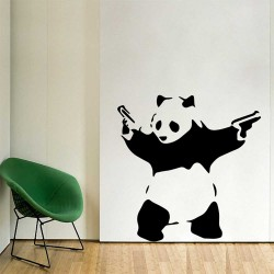 Banksy  Panda With Guns Vinyl Wall Art Decal (WD-1057)