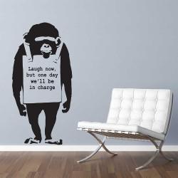 Banksy Print Monkey Laugh Now Chimp Vinyl Wall Art Decal (WD-1058)