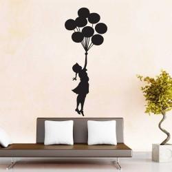 Banksy Flying Balloons Girl Wandaufkleber Wandtattoo (WD-1062)