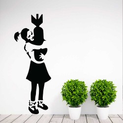 Banksy Bomb Hugger Girl Vinyl Wall Art Decal (WD-1064)