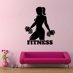Drumbbell Gym Woman Fitness Vinyl Wall Art Decal (WD-1065)