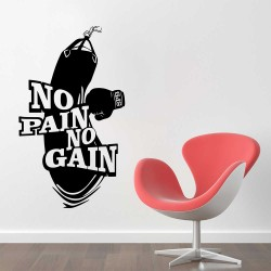 No Pain No Gain Workout Fitness Boxing Gloves Punch Bag Vinyl Wall Art Decal (WD-1072)