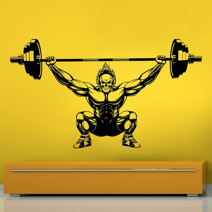 Muscle Gym Workout Body Building Weights Exercise Wall Decal Art Sticker Picture