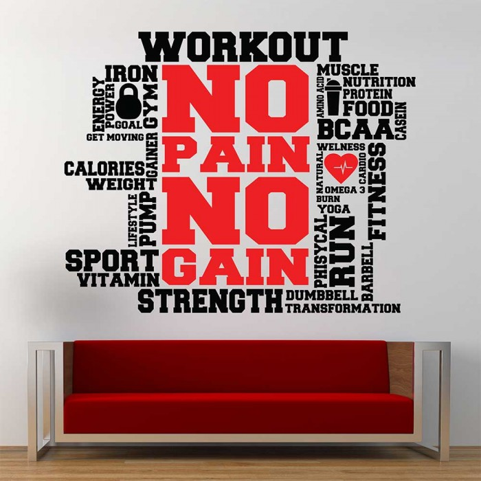 workout fitness sport gym word clound vinyl wall art decal