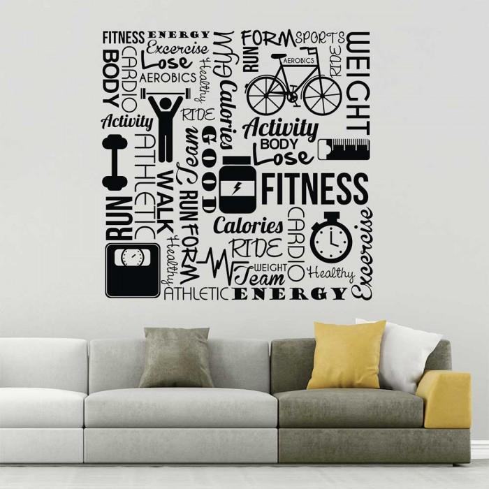 fitness sport club gym world clound wandaufkleber wandtattoo. Black Bedroom Furniture Sets. Home Design Ideas