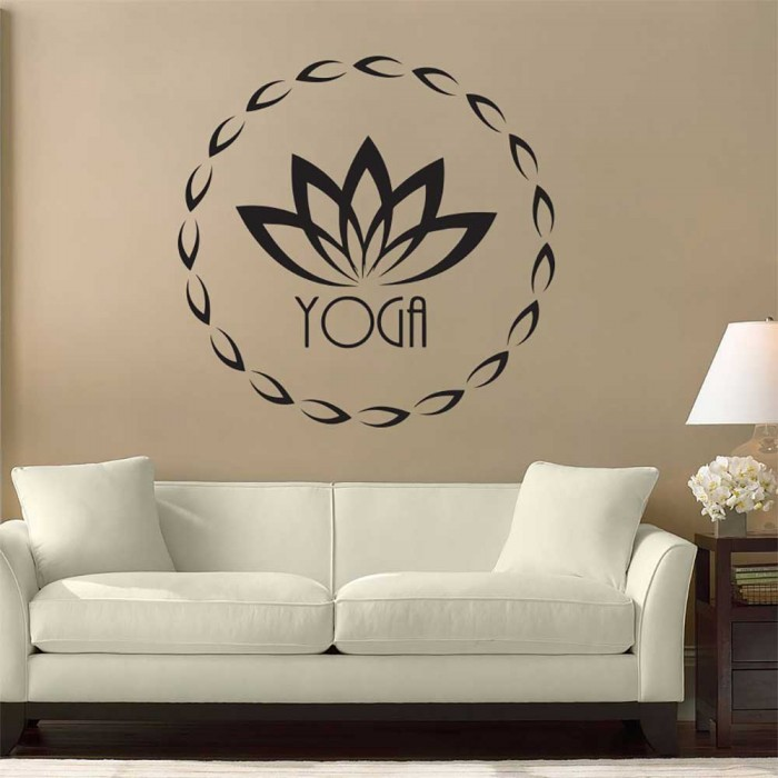 yoga logo fitness wandaufkleber wandtattoo. Black Bedroom Furniture Sets. Home Design Ideas