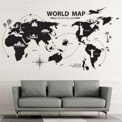 สติกเกอร์ติดผนัง แผนที่โลก  World Map go all over the world  / Wall Sticker  (WD-1123)