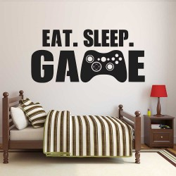 สติกเกอร์ติดผนัง Eat Sleep Game  / Wall Sticker  (WD-1137)