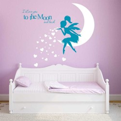 Fairy Pixiedust I Love You to the Moon Vinyl Wall Art Decal (WD-1138)