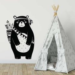 สติกเกอร์ติดผนัง หมีอินเดียน Indiana Bear  Wall Sticker  (WD-1140)